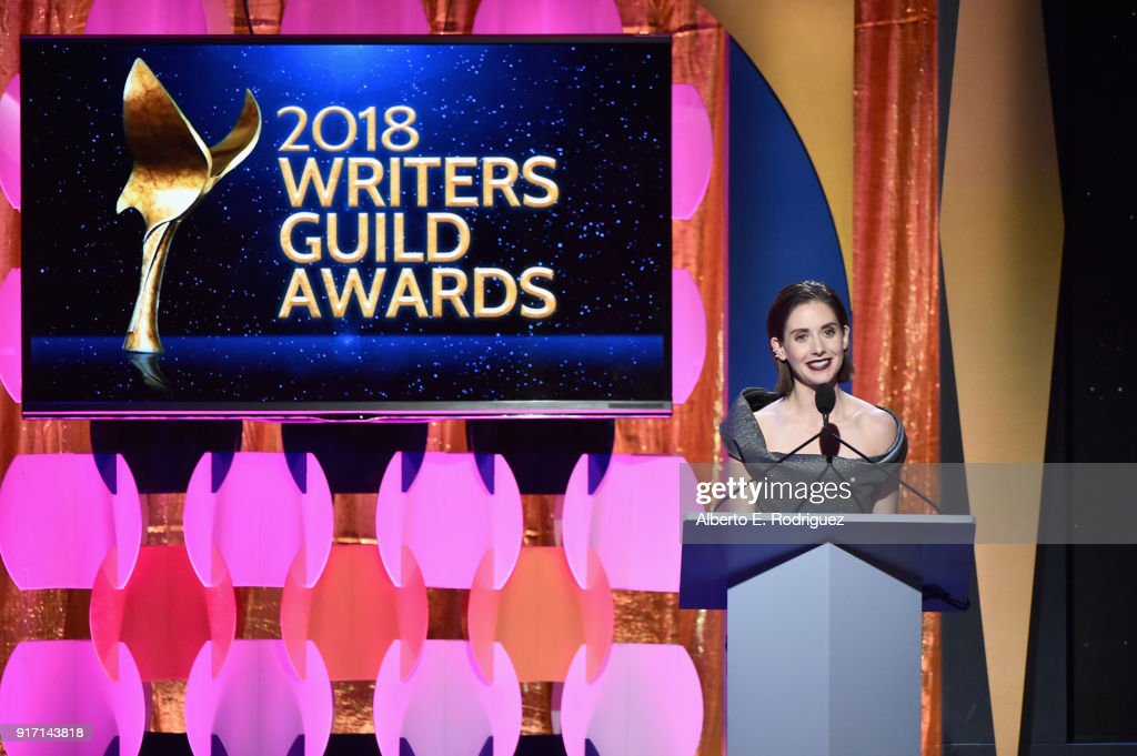 Alison Brie speaks onstage during the 2018 Writers Guild Awards L.A. Ceremony at The Beverly Hilton Hotel on February 11, 2018 in Beverly Hills, California.