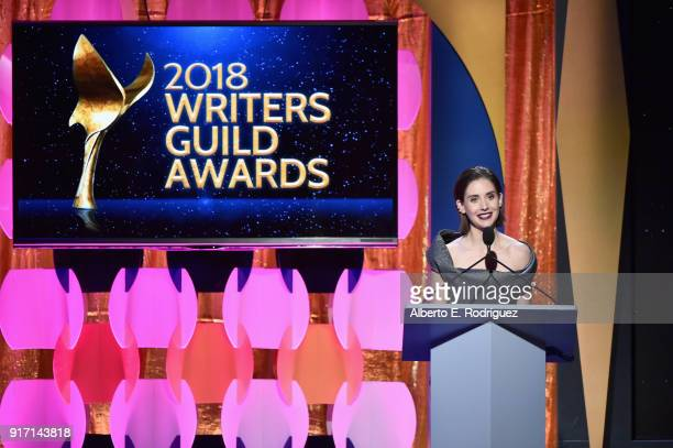 Alison Brie speaks onstage during the 2018 Writers Guild Awards LA Ceremony at The Beverly Hilton Hotel on February 11 2018 in Beverly Hills...