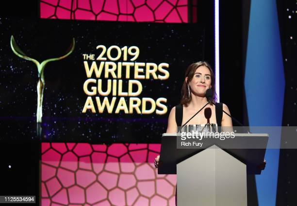 Alison Brie speaks onstage during the 2019 Writers Guild Awards LA Ceremony at The Beverly Hilton Hotel on February 17 2019 in Beverly Hills...