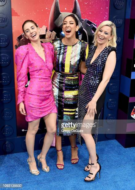 Alison Brie Stephanie Beatriz and Elizabeth Banks attend the Premiere Of Warner Bros Pictures' The Lego Movie 2 The Second Part at Regency Village...