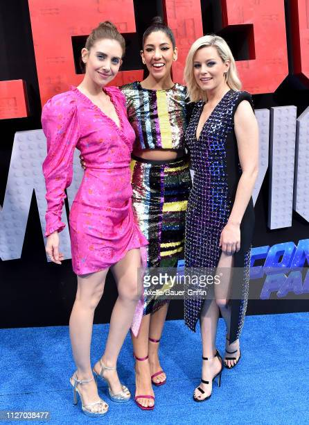 Alison Brie Stephanie Beatriz and Elizabeth Banks attend the premiere of Warner Bros Pictures' 'The Lego Movie 2 The Second Part' at Regency Village...
