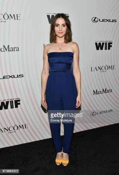 Alison Brie wearing Max Mara attends the Women In Film 2018 Crystal Lucy Awards presented by Max Mara Lancôme and Lexus at The Beverly Hilton Hotel...