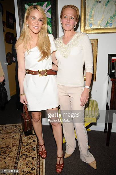 Alison Brod and Muffie Potter Aston attend A Private Dinner to celebrate the opening of HUNT SLONEM'S Exhibition 'THE FEATHER GAME' at Hunt Slonem...