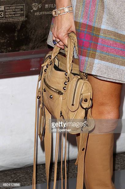 Alison Brod bag detail attends the 'Suffragette' New York premiere at The Paris Theatre on October 12 2015 in New York City