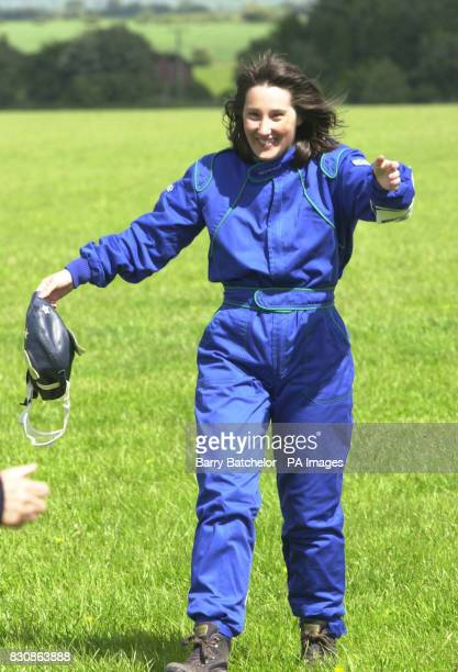 Alison Brown aged 30 from the West Midlands after wingwalking with Tom Lackey aged 82 at Rendcomb Airfield near Cirencester They hope to raise 3000...