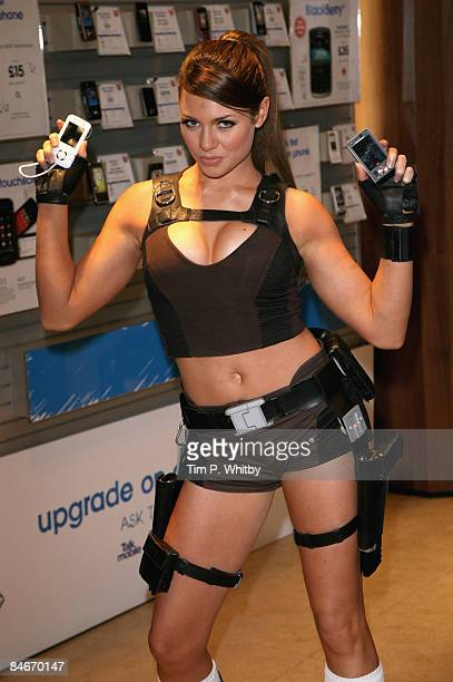 Alison Carroll apears as the new real life Lara Croft to help promote two new gaming handsets from Sony Ericsson at the Carphone Warehouse on 06...