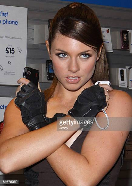 Alison Carroll in her role as Lara Croft launches the Sony Ericsson W910 Gaming Edition Mobile Phone at Carphone Warehouse on February 6 2009 in...