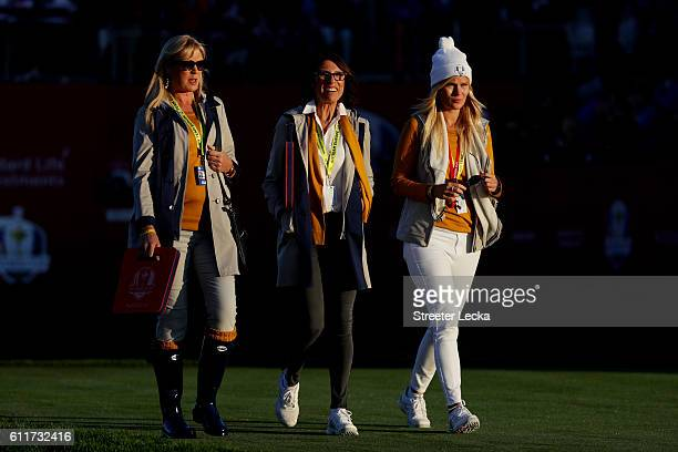 Alison Clarke Suzanne Torrance and Grace Barber walk off the first tee during morning foursome matches of the 2016 Ryder Cup at Hazeltine National...