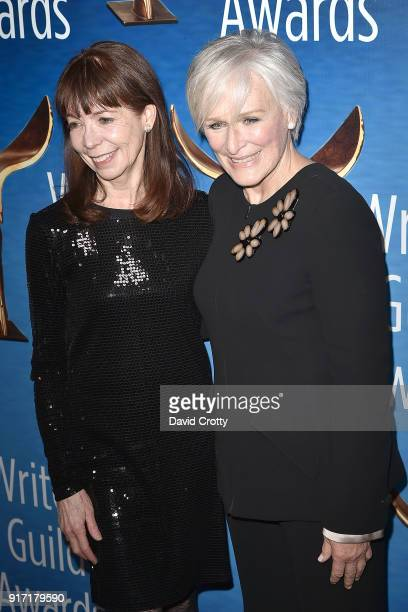 Alison Cross and Glenn Close attend the 2018 Writers Guild Awards LA Ceremony at The Beverly Hilton Hotel on February 11 2018 in Beverly Hills...