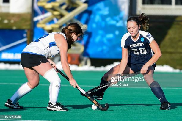 Alison Denby of Middlebury defends Erin Coverdale of Franklin Marshall during the Division III Women's Field Hockey Championship held at Spooky Nook...