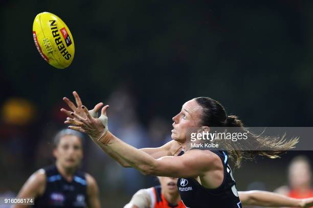 Alison Downie of the Blues takes a mark during the round 20 AFLW match between the Greater Western Sydney Giants and the Carlton Blues at Drummoyne...