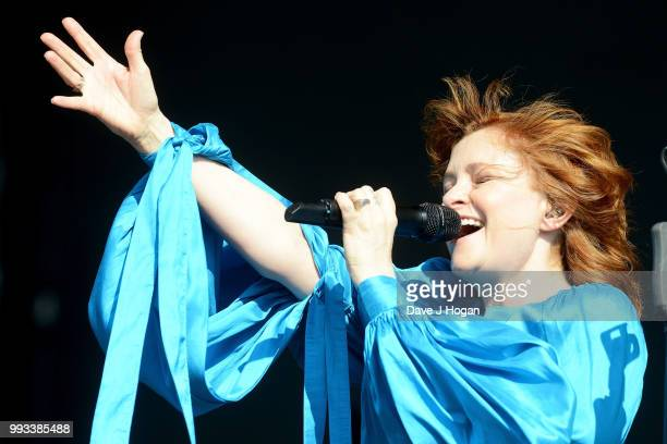 Alison Goldfrapp of Goldfrapp performs on stage as Barclaycard present British Summer Time Hyde Park at Hyde Park on July 7 2018 in London England