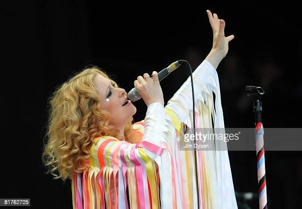 Alison Goldfrapp of Goldfrapp performs on the Pyramid stage during day three of the Glastonbury Festival at Worthy Farm Pilton on June 29 2008 in...