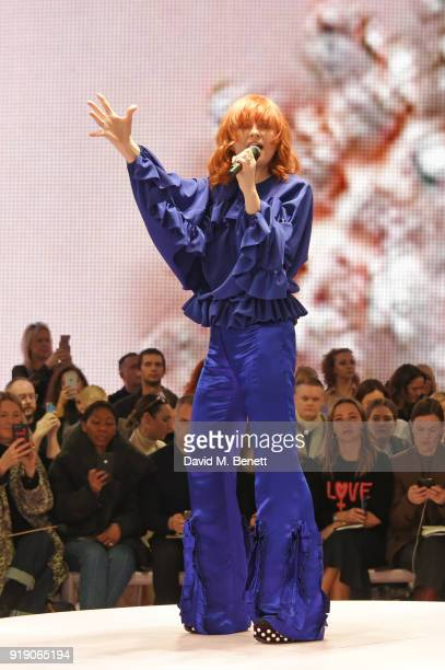 Alison Goldfrapp performs at the Mulberry 'Beyond Heritage' SS18 Presentation during London Fashion Week February 2018 at Spencer House on February...