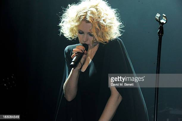 Alison Goldfrapp performs at the Vertu launch of the new Constellation smartphone at One Mayfair on October 2 2013 in London England