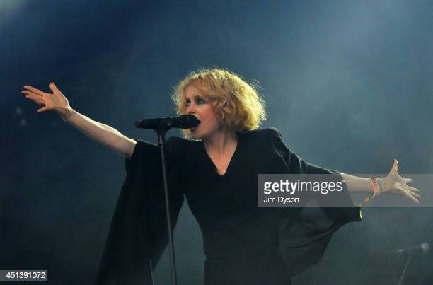 Alison Goldfrapp performs on the West Holts stage during day two of the Glastonbury Festival at Worthy Farm in Pilton on June 28 2014 in Glastonbury...