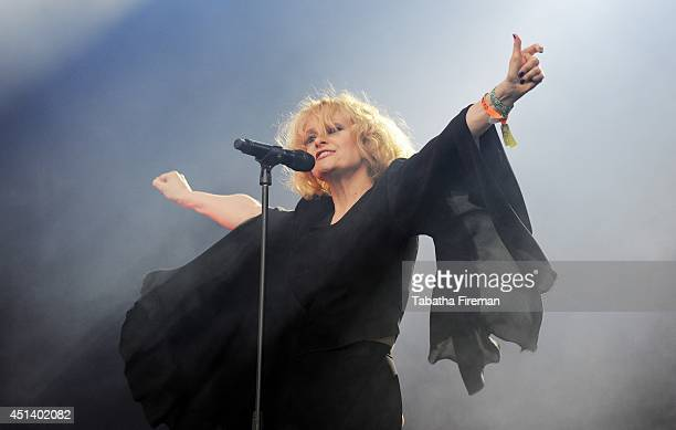 Alison Goldfrapp performs on the West Holts stage on Day 2 of the Glastonbury Festival at Worthy Farm on June 28 2014 in Glastonbury England