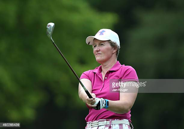 Alison Gray of Ormskirk GC tees off during the Glenmuir Women's PGA Professional Championship Qualifier at Little Aston Golf Club on May 19 2014 in...