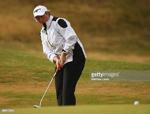 Alison Gray of Ormskirk makes a putt on the 1st green during the Glenmuir PGA Professional Championship at Dundonald Links on June 19 2009 in...