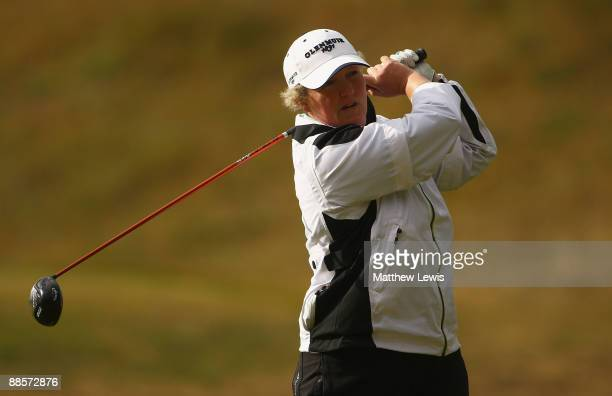 Alison Gray of Ormskirk tees off on the 2nd hole during the Glenmuir PGA Professional Championship at Dundonald Links on June 19 2009 in Dundonald...