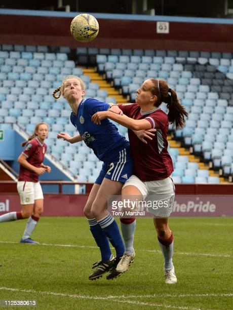 Alison Hall of Aston Villa Ladies battles for the ball with Ella FranklinFraiture of Leicester City Women during the FA WSL2 match between Aston...