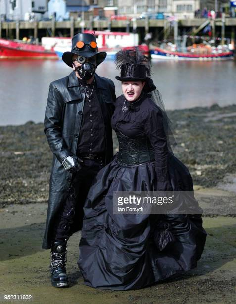 Alison Hartley and Graham Oldroyd from Wakefield pose as they attend the Whitby Gothic Weekend on April 28, 2018 in Whitby, England. The Whitby Goth...