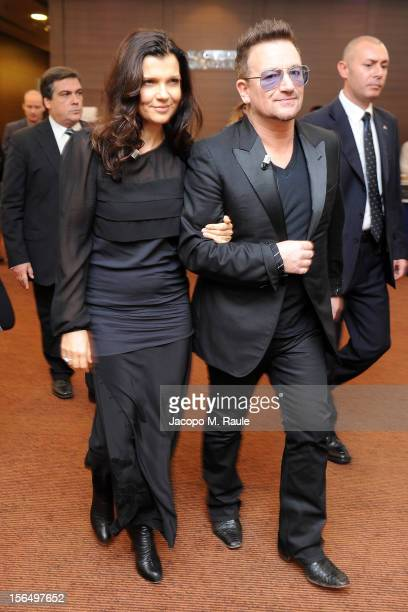 Alison Hewson and Bono arrive for the third day of the 2012 International Herald Tribune's Luxury Business Conference held at Rome Cavalieri on...