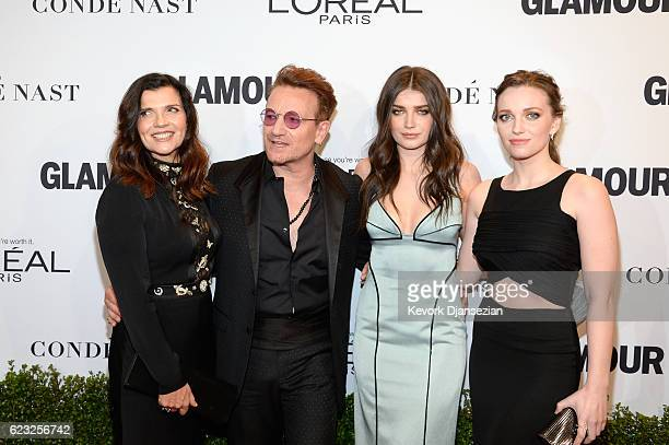 Alison Hewson honoree Bono and actress Eve Hewson and Jordan Hewson attend Glamour Women Of The Year 2016 at NeueHouse Hollywood on November 14 2016...