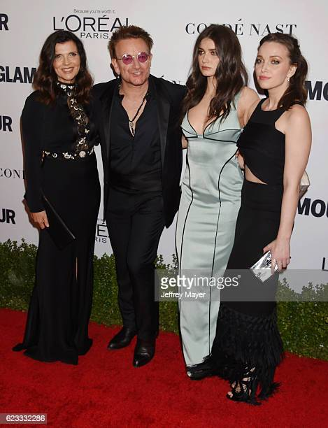Alison Hewson honoree/singer Bono actress Eve Hewson and Jordan Hewson arrive at the Glamour Women Of The Year 2016 at NeueHouse Hollywood on...