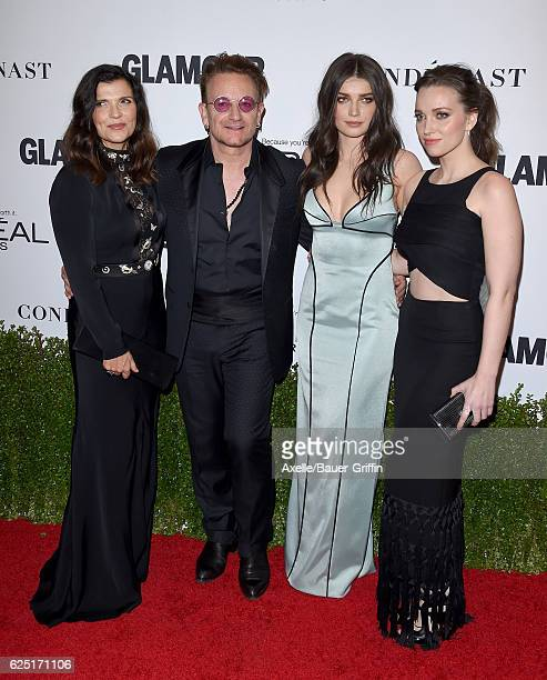 Alison Hewson honoree/singer Bono actress Eve Hewson and Jordan Hewson arrive at Glamour Women of the Year 2016 at NeueHouse Hollywood on November 14...