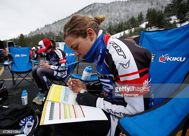 Alison Jackson of Canada riding for Twenty 16 presented by SHOAIR makes course notes prior to the start of stage one of the 2015 AMGEN Tour of...