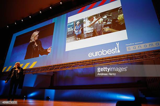 Alison Jackson speaks during a seminar on the second day at the Eurobest festival of creativity at Finlandia Hall on December 2 2014 in Helsinki...