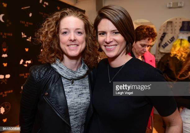 Alison Jaslow and Kasie Hunt attend The Wing DC Opening Celebration in Georgeotwn on April 10 2018 in Washington DC