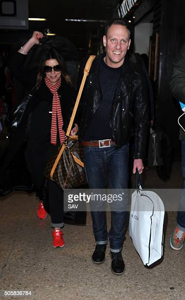 Alison King and Antony Cotton arrive at Euston Station on January 20 2016 in London England