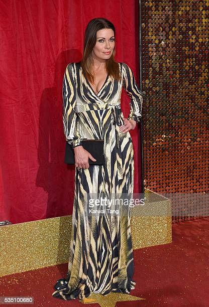 Alison King arrives for the British Soap Awards 2016 at the Hackney Town Hall Assembly Rooms on May 28 2016 in London England