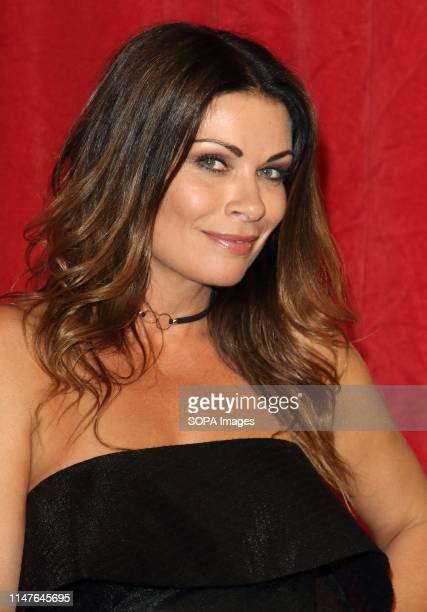 Alison King arrives on the red carpet during The British Soap Awards 2019 at The Lowry, Media City, Salford in Manchester.