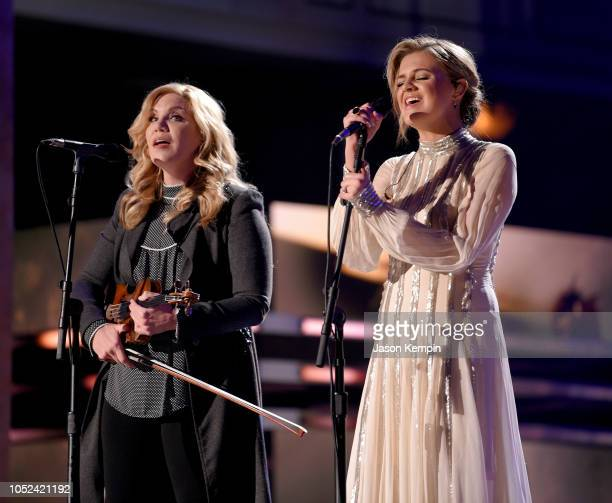 Alison Krauss and Kelsea Ballerini perform onstage during the 2018 CMT Artists of The Year at Schermerhorn Symphony Center on October 17 2018 in...