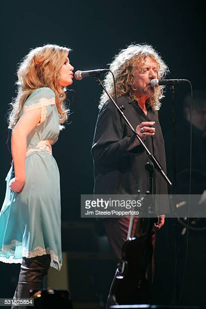 Alison Krauss and Robert Plant performing on stage at Wembley Arena in London on the 22nd May, 2008.