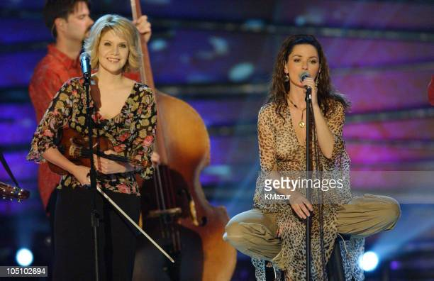 Alison Krauss and Union Station with Shania Twain during 2003 CMT Flameworthy Awards Show at The Gaylord Center in Nashville Tennessee United States