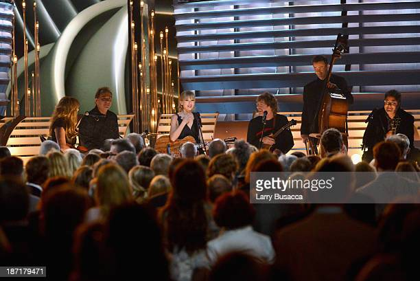 Alison Krauss Eric Darken Taylor Swift Sam Bush Edger Miller and Vince Gill perform onstage during the 47th annual CMA Awards at the Bridgestone...
