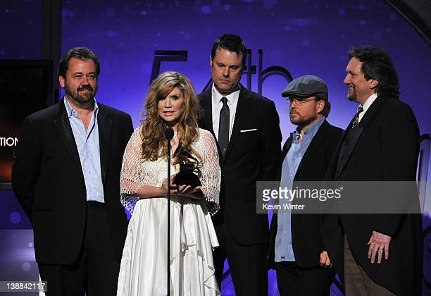 Alison Krauss Union Station accept the award for Best Bluegrass Albumn for Paper Airplane onstage at the 54th Annual GRAMMY Awards held at Staples...