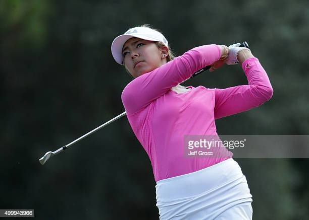 Alison Lee hits a shot during the second round of the CME Group Tour Championship at the Tiburon Golf Club on November 20 2015 in Naples Florida