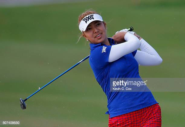 Alison Lee hits a shot on the seventh hole during the second round of the Pure Silk Bahamas LPGA Classic at the Ocean Club Golf Course on January 29...