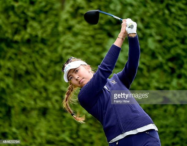Alison Lee hits a tee shot on the 17th hole during the first round of the Canadian Pacific Women's Open at the Vancouver Golf Club on August 20 2015...