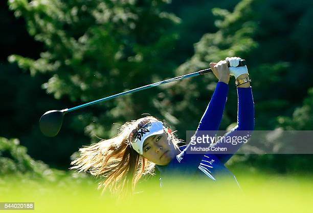 Alison Lee hits her drive on the 17th hole during the first round of the Cambia Portland Classic held at Columbia Edgewater Country Club on June 30...