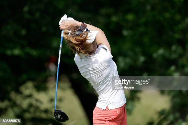 Alison Lee hits her tee shot on the fifth hole during the first round of the 2017 KPMG PGA Championship at Olympia Fields Country Club on June 29...