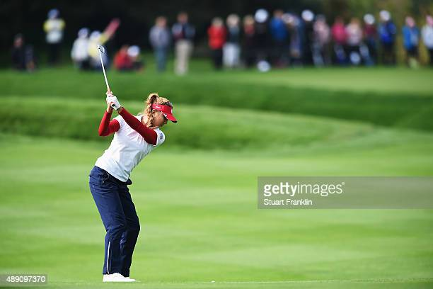 Alison Lee of team USA plays a shot during the morning foursomes matches at The Solheim Cup at St LeonRot Golf Club on September 19 2015 in St...