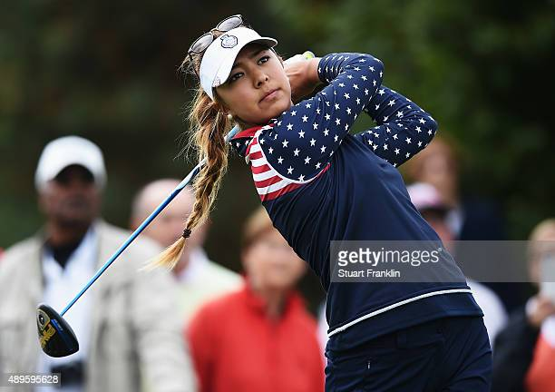 Alison Lee of team USA plays a shot during the singles matches of The Solheim Cup at St LeonRot Golf Club on September 20 2015 in St LeonRot Germany