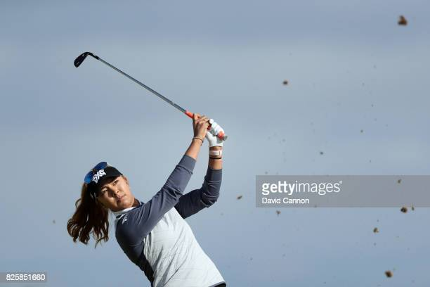 Alison Lee of the United States hits her second shot on the 4th hole during the first round of the Ricoh Women's British Open at Kingsbarns Golf...