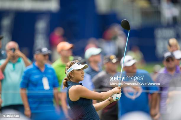 Alison Lee of the United States hits her tee shot on the 10th hole during Round Two for the 2017 KPMG Women's PGA Championship held at Olympia Fields...